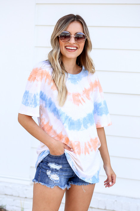 Model wearing Orange and Blue Tie-Dye Tee