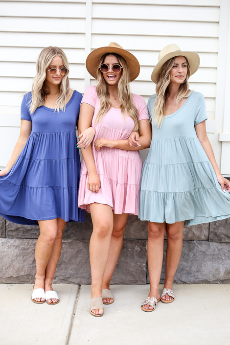 Blush - Denim, and Mint Tiered T-Shirt Dresses