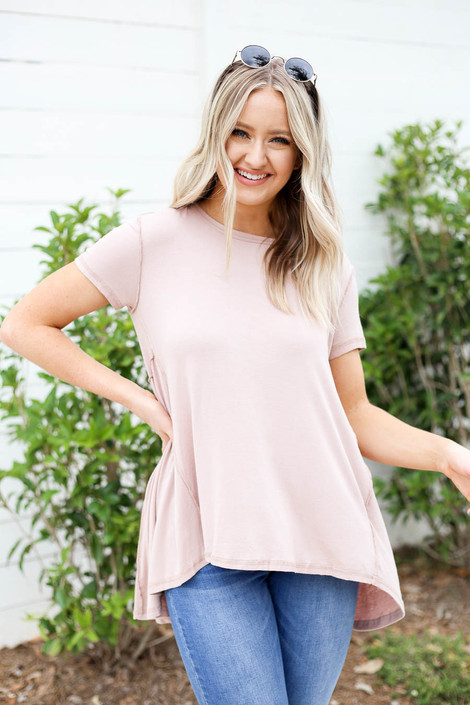Model wearing Taupe Exposed Stitch Tee