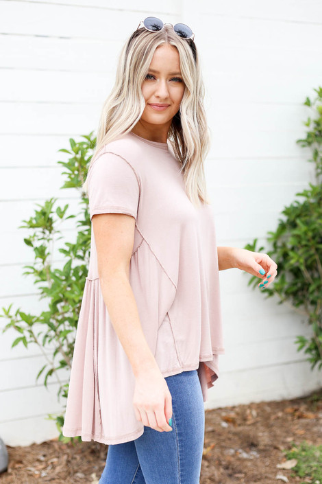 Taupe - Exposed Stitch Tee Side View