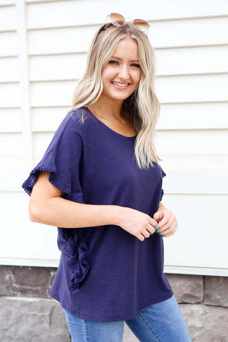 Navy - Circle Lace Top Side View