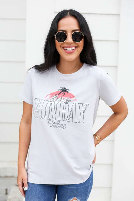 Grey - Lazy Sunday Vibes Graphic Tee Front View