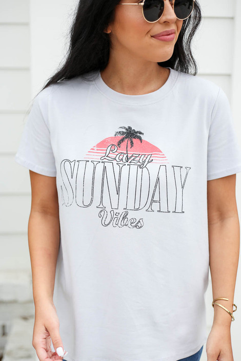 Model wearing Grey Lazy Sunday Vibes Graphic Tee Detail View