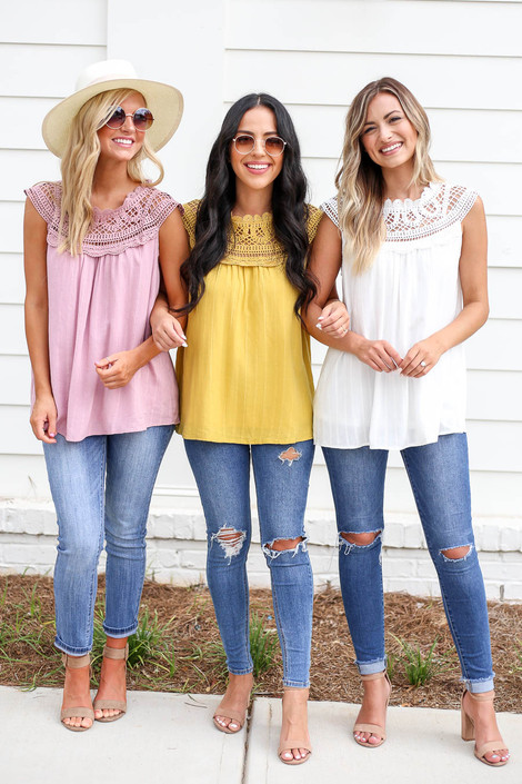 Mustard - Pink and White Crochet Neck Sleeveless Top