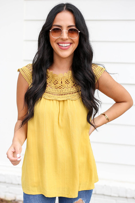 Mustard - Crochet Neck Sleeveless Top