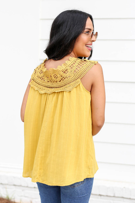 Model wearing Mustard Crochet Neck Sleeveless Top Back View