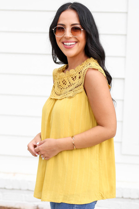 Model wearing Mustard Crochet Neck Sleeveless Top Side View