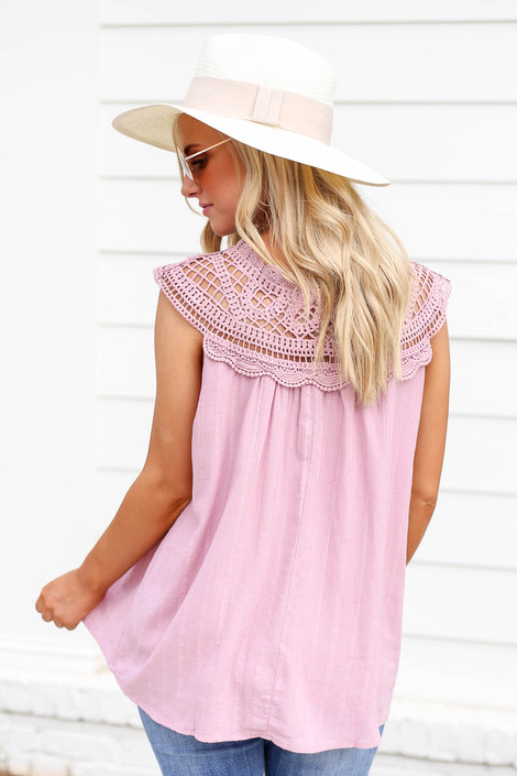 Model wearing Pink Crochet Neck Sleeveless Top Back View