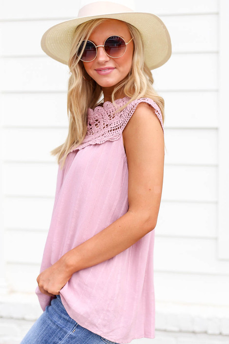 Model wearing Pink Crochet Neck Sleeveless Top Side View