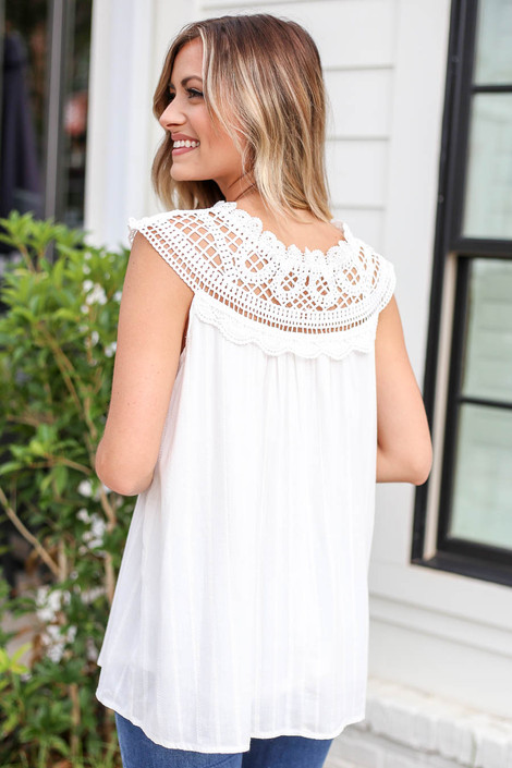 White - Crochet Neck Sleeveless Top Back View