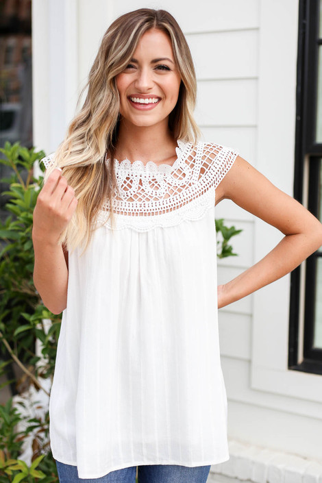 White - Crochet Neck Sleeveless Top