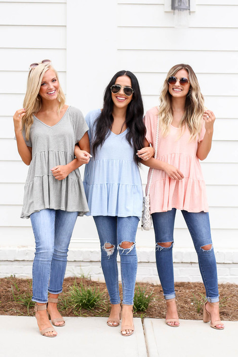 Black - Blue and Coral Striped Tiered Tops