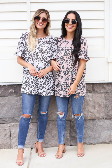 Blush - and White Leopard Print Tee