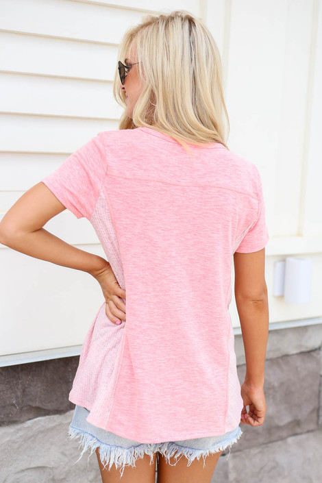 Model wearing Blush Ribbed Contrast Tee Back View