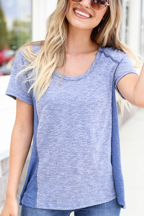 Blue - Ribbed Contrast Tee Detail View