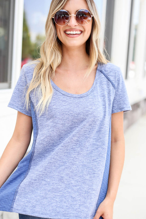 Model wearing Blue Ribbed Contrast Tee Front View