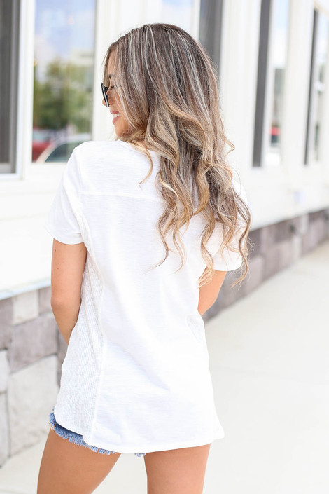 Model wearing White Ribbed Contrast Tee Back View