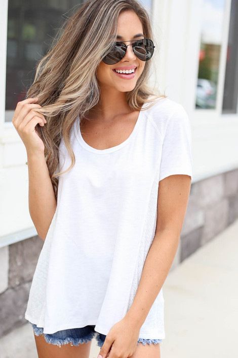Model wearing White Ribbed Contrast Tee Front View