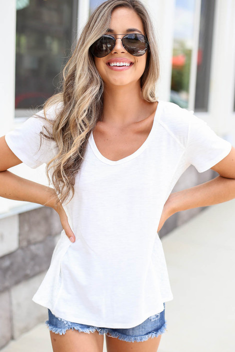 White - Ribbed Contrast Tee