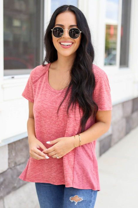 Model wearing Marsala Ribbed Contrast Tee Front View
