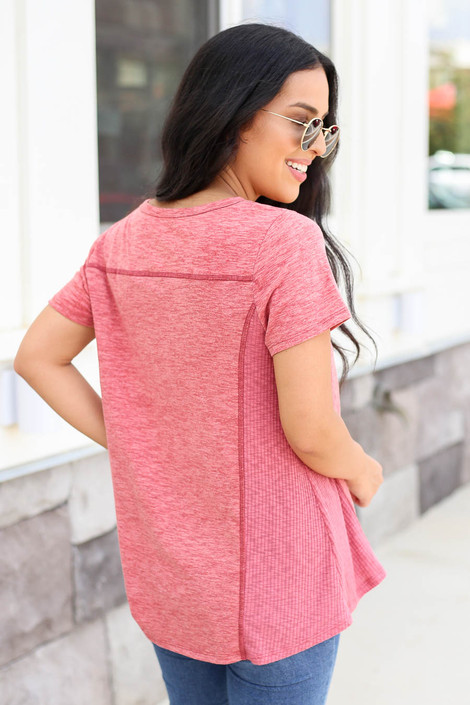 Model wearing Marsala Ribbed Contrast Tee Back View