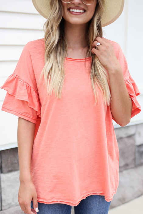 Coral - Ruffle Sleeve Top Detail View
