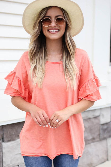 Coral - Ruffle Sleeve Top
