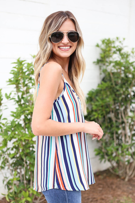 Multi - Striped V-Neck Tank Top Side View