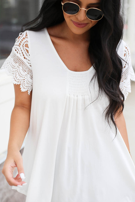 White - Crochet Sleeve Top Detail View