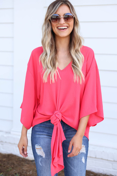 Coral - Tie-Front Chiffon Blouse