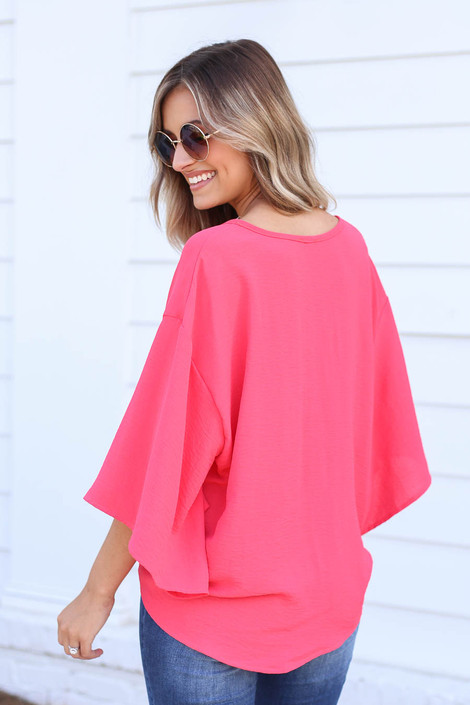 Model wearing Coral Tie-Front Chiffon Blouse Back View