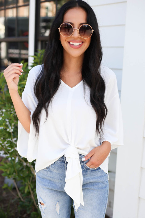 Model wearing White Tie-Front Chiffon Blouse Front View