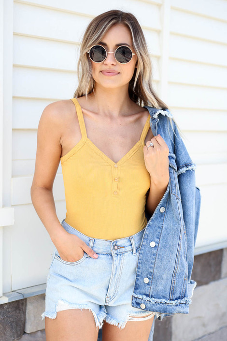 Mustard - Ribbed Button Up Bodysuit