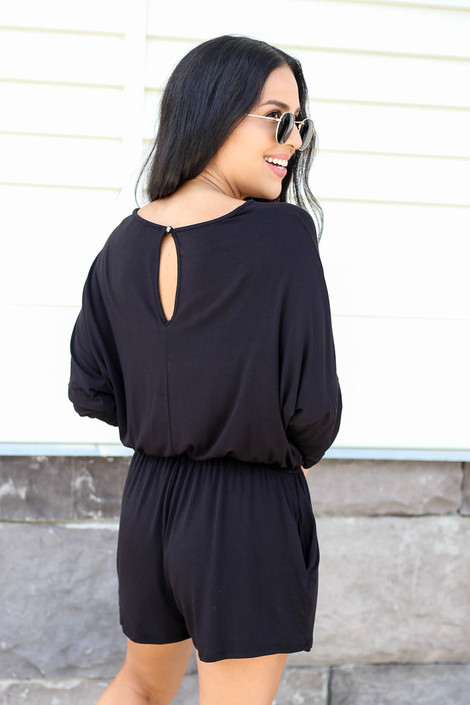 Black - 3/4 Sleeve Soft Knit Casual Romper Back View