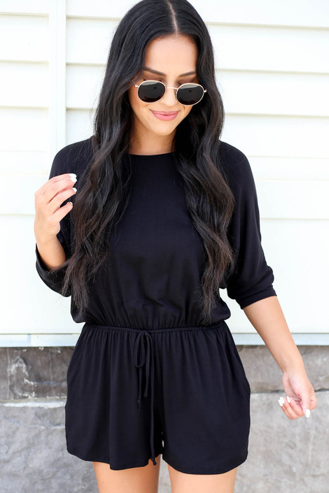 Black - 3/4 Sleeve Soft Knit Casual Romper
