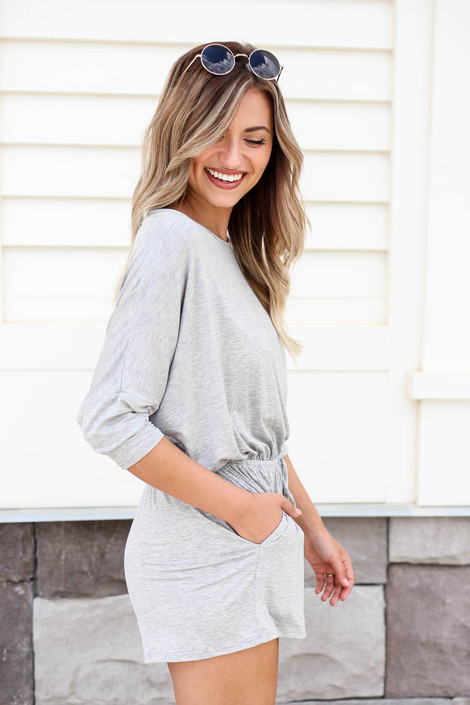 Heather Grey - 3/4 Sleeve Soft Knit Casual Romper Side View