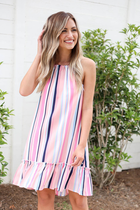 Model wearing Pink Multi Striped Ruffle Hem Mini Dress Front View