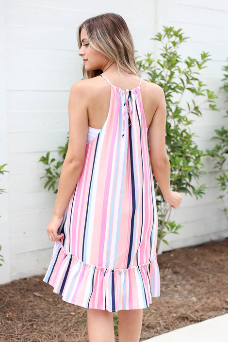 Pink - Multi Striped Ruffle Hem Mini Dress Back View