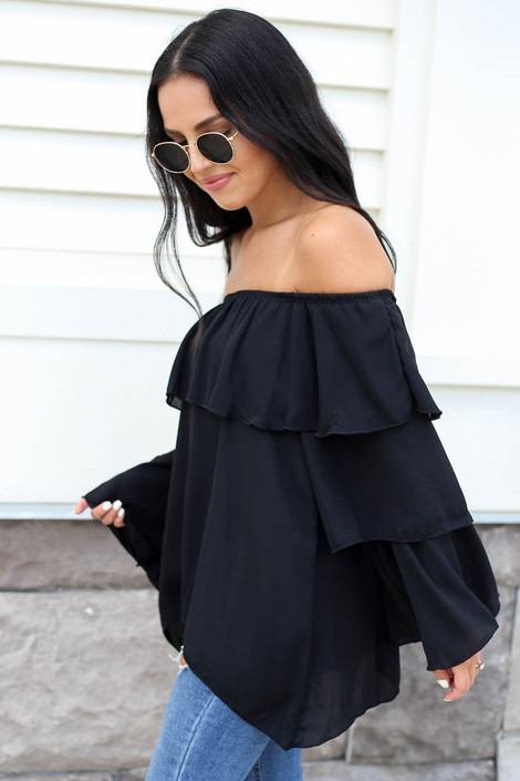 Black - Off the Shoulder Ruffled Sleeve Tiered Top Side View