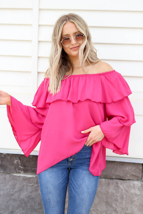 Fuchsia - Off the Shoulder Ruffled Sleeve Tiered Top