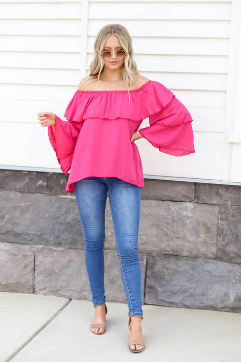 Fuchsia - Off the Shoulder Ruffled Sleeve Tiered Top Full View