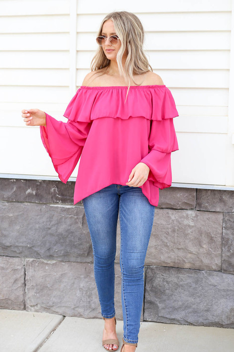 Model wearing Fuchsia Off the Shoulder Ruffled Sleeve Tiered Top Full View