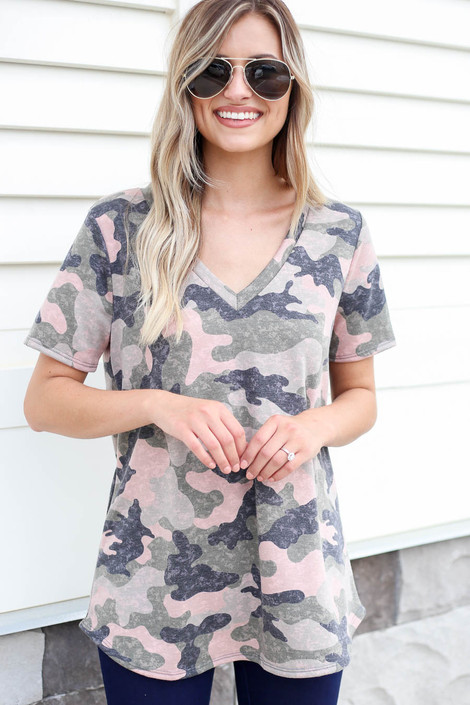 Model wearing Camouflage V-Neck Tee Front View