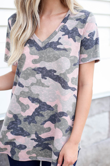 Camo - V-Neck Tee Detail View