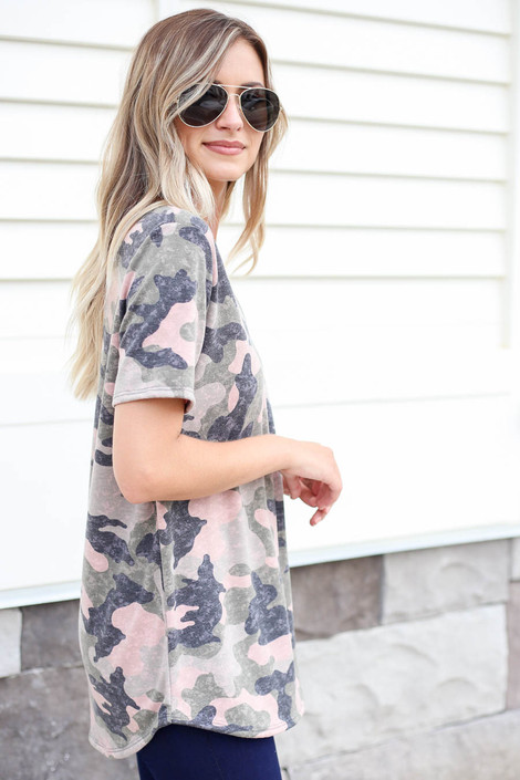 Model wearing Camouflage V-Neck Tee Side View