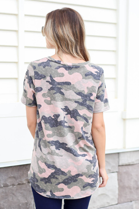 Model wearing Camouflage V-Neck Tee Back View