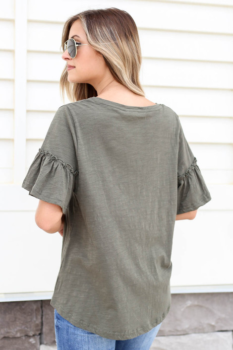 Olive - Ruffle Sleeve Slub Knit Tee Back View