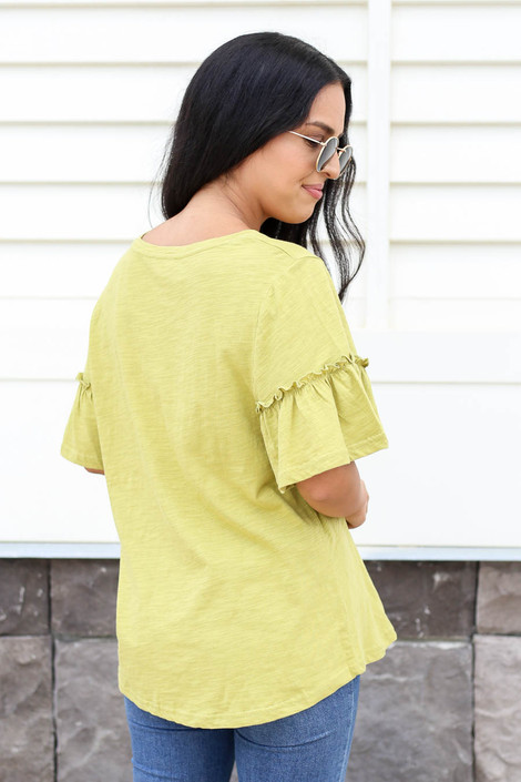 Lime - Ruffle Sleeve Slub Knit Tee Back View