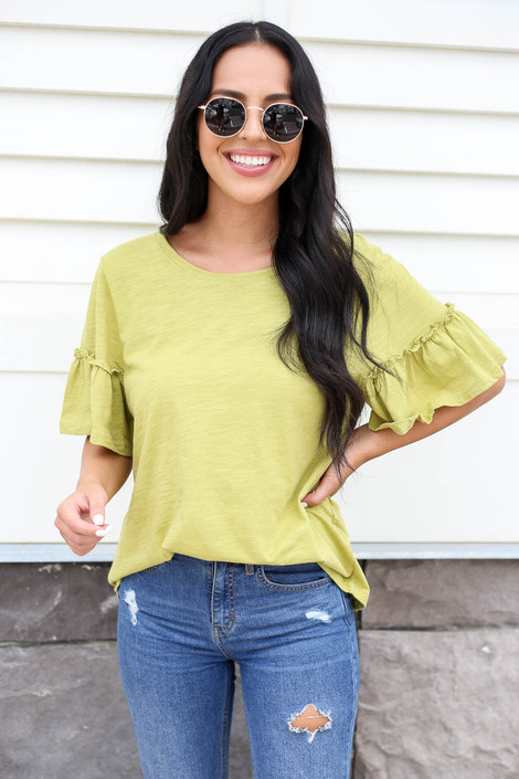 Lime - Ruffle Sleeve Slub Knit Tee