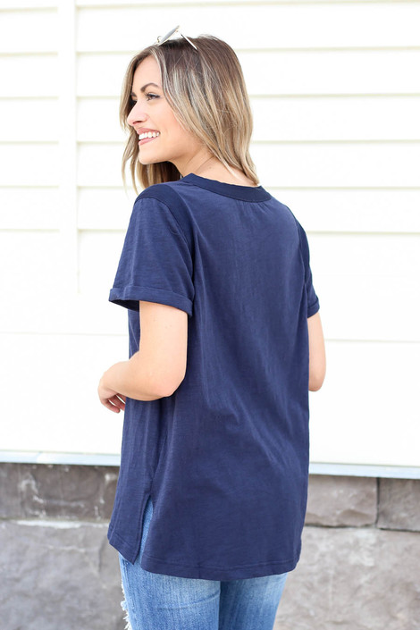 Model wearing Navy Short Sleeve Contrast Tee Back View